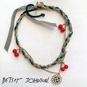 Betsey Johnson cherry picnic necklace